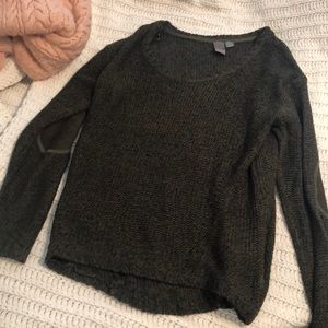 Francesca's Dark Green Sweater With Patches